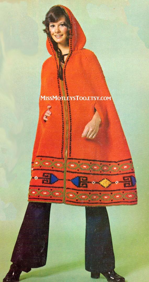 Mens Hooded Poncho Knitting Pattern : Poncho knitting pattern hooded cape retro knit immediate