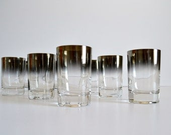 Vintage Set of 8 Mid Century Modern Silver Ombre Fade Double Shot Glasses