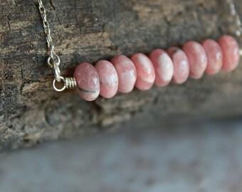 Pink Rhodochrosite Gemstone Pendant Necklace; Gemstone Jewelry; Gemstone Necklace; Rhodochrosite Necklace; Pink Necklace; Pink Gemstones