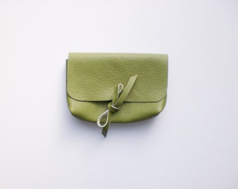 leather bag green small clutch leather cosmetic case organizer