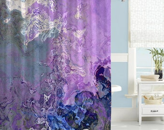 abstract shower curtain bathroom decor lavender and blue shower curtain from original
