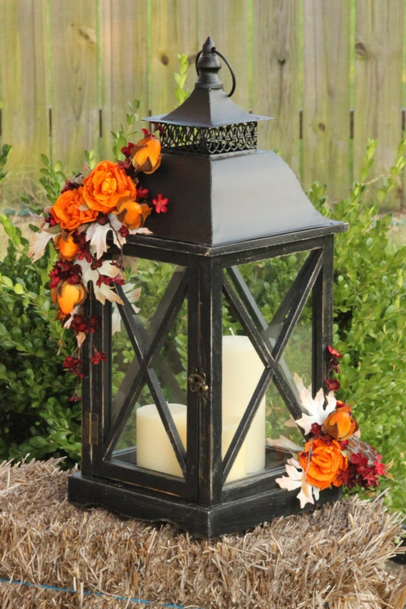 Fall autumn rustic lantern centerpiece wedding