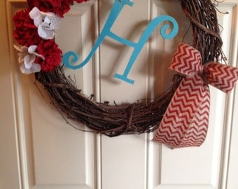 "14"" Grapevine Wreath with Flowers and Letter (Customizable)"