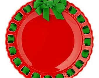 Christmas Red Round Plate ~ Prissy Plate ~ Ribbon Plate