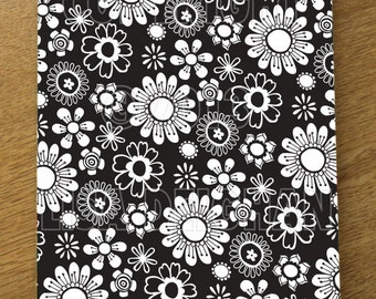 Black & White Floral Illustrated A5 notebook