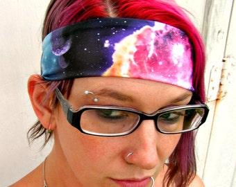Black hole Galaxy Nebula headband Space hair bow geek planet stars