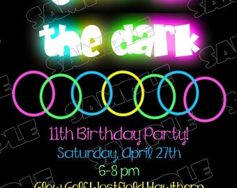 Glow in the dark invitations bracelets birthday party printable invitations UPrint customized card by greenmelonstudios