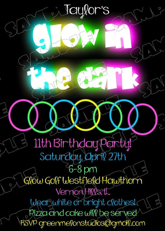 Glow in the dark invitations glow party by greenmelonstudios
