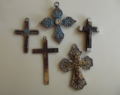 Grandfather and Family/ 5 Different Cross Charms / Two of them made in Italy / Crucifix / Cross of Christ / Religious Symbol