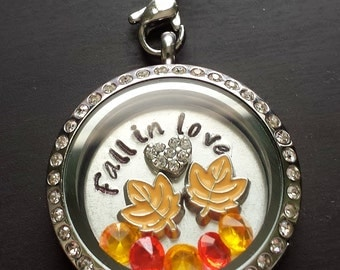 Floating Locket Necklace-Includes Locket, Charms, Hand Stamped Window Plate & Chain-Gift Idea