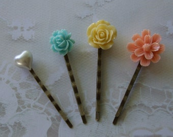 Set of Four Floral Bobby Pins, Hair Accessories, Pastel Shades, Peach, Mint Green, Yellow and Pearl Bobby Pins- Spring and Summer Colors