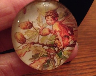 Flower Fairies! Handmade glass pendant necklace with picture of the Oak Tree Fairy by Cecily Mary Barker
