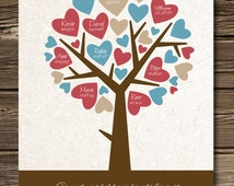 Hearts Family Tree Gift for GRANDPARENTS from Grandkids, Personalized print  with grand children's names 8,5 x 11""