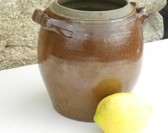 French Vintage Stoneware Onion Pot 1950s