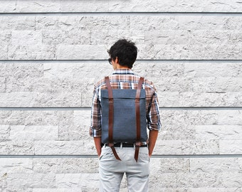 City backpack for men, personalized canvas leather laptop bag, Custom backpack 201