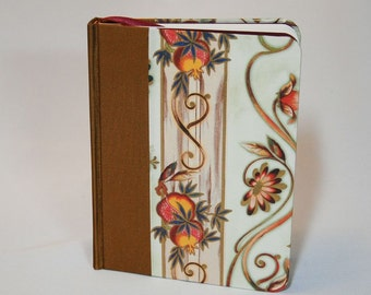 Blank travel journal, handmade in gold and plum colors with bookmark