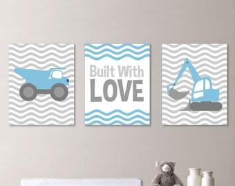 Baby Boy Nursery Art Print - Construction Nursery Art - Construction Bedroom Art. Construction Art. Construction Decor -  Gray Blue (NS-345)