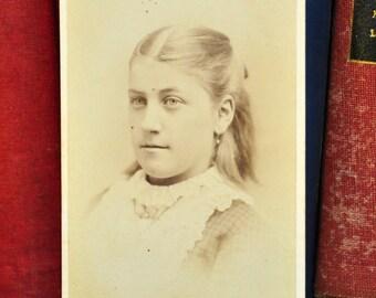 Carte de Visite Circa 1870s. Antique Photograph of Girl. Antique Portrait. 1800s Photograph. CDV. Antique Photography. Home Decor.