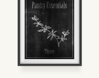 Sale-Kitchen Printable Art Print, Wall Prints, Thyme Herb Print, Chalkboard Art Print Download, Kitchen Sign, Resturant Sign, Pantry