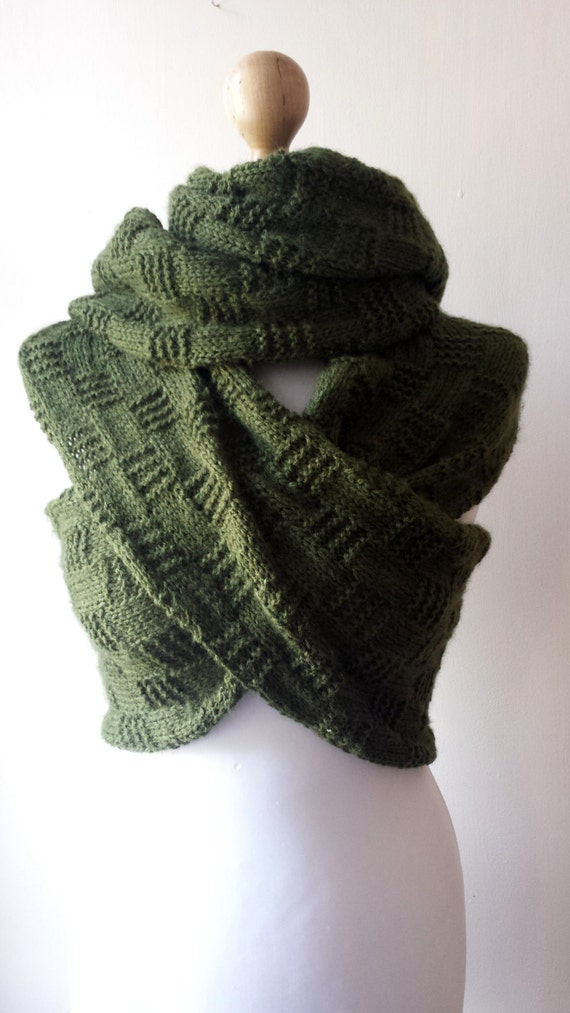Knitting Pattern Scarf With Sleeves : Hand knit sleeve scarf knitted scarf with sleeves olive