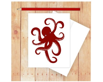 Octopus Card, Sea Creature, Red Octopus, Nautical Thank You Card, Nautical Thank Notes, Blank Note Cards, Blank Card Set