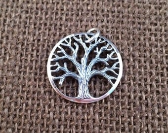 Tree of Life Pendant, Tree of Life Charm, Family Tree Pendant, Family Tree Charm, Sterling Silver Tree of Life, Large Size, PS01327