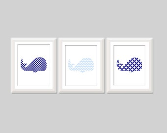 Whale Nursery Decor Set of 3, Baby Boy Nautical Nursery, Chevron Polka Dot Whale Nursery Decor, Nautical Nursery Decor, Kids Wall Art