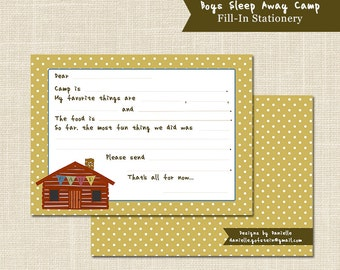 BOYS CAMP STATIONERY, Sleep Away Camp, Fill in the blank, digital file or professional printing available