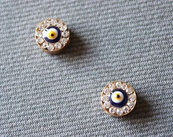 3 Gold Plated Evil Eye Beads with Crystal - Evil Eye Jewelry, Protection Bead, Protection Jewelry
