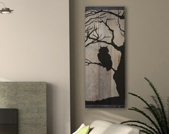 Reclaimed Barn Wood Wall Art - Owl Silhouette in Bare Tree