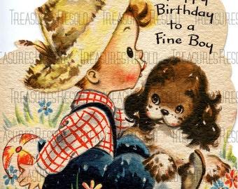 Boy With Puppy Dog Birthday Card #136 Digital Download