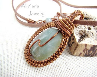 A litle bit of symetry and an indian agate stone - Pendant - Copper