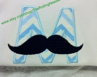 Baby Boy Mustache Initial Bodysuit