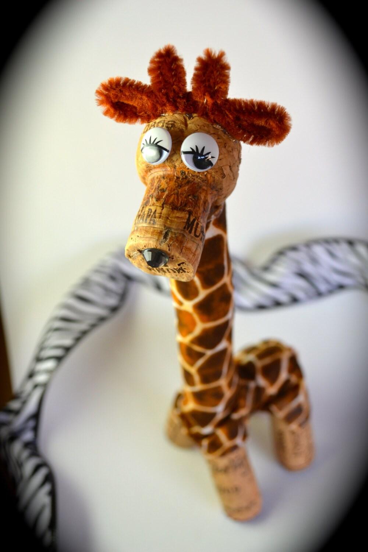 giraffe wine cork ornament gift wild animal by divinewinecorks