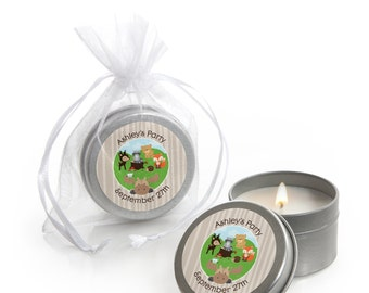 Woodland Creatures Candle Tin Baby Shower Favors - Custom Baby Shower Party Favors - 12 Count