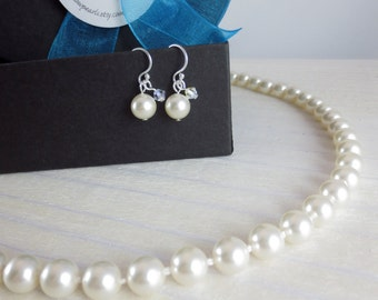 Bridesmaids Pearl Necklace, Bridesmaids Pearl Set,  Bridesmaids Jewelry Set, Bridesmaids Gift, Bridal Necklace, Bridesmaids Set