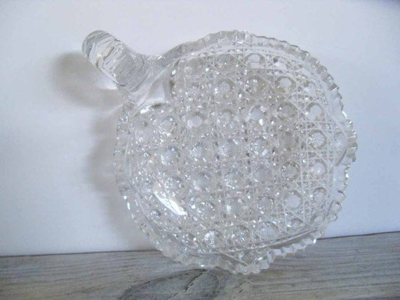 Vintage Cut Glass Candy Dish American Brilliant Crystal Bowl Footed Glass Nappy Hobstar Starburst Buttons Saw-tooth Scalloped Edge 1950