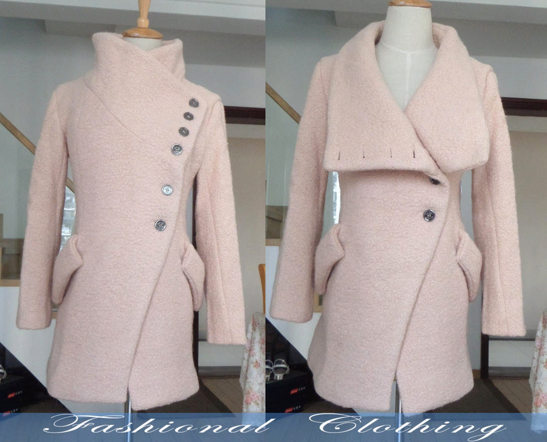 yellow light pink coat wool coat winter coat spring autumn
