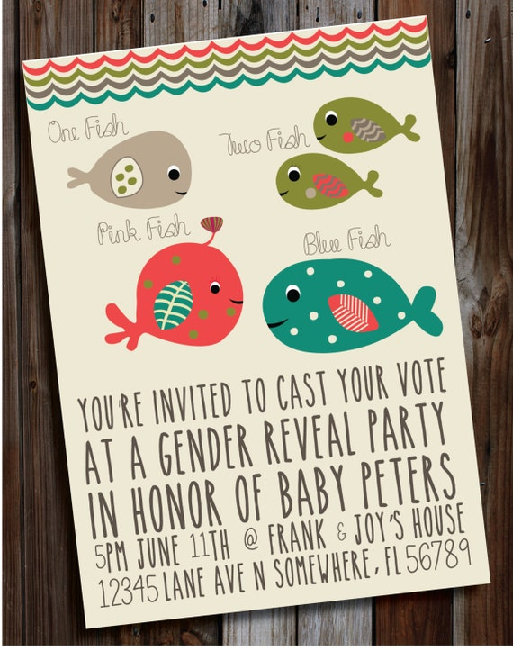 Items similar to diy printable gender reveal party for Fishing gender reveal