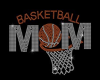 Basketball Mom with Hoop Rhinestone Bling Iron on Heat Transfer