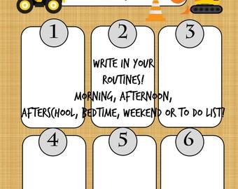 INSTANT DIY My Routine Boy Theme Morning Afternoon and Bedtime Chore Chart To Do List Construction Truck Big Rig Theme