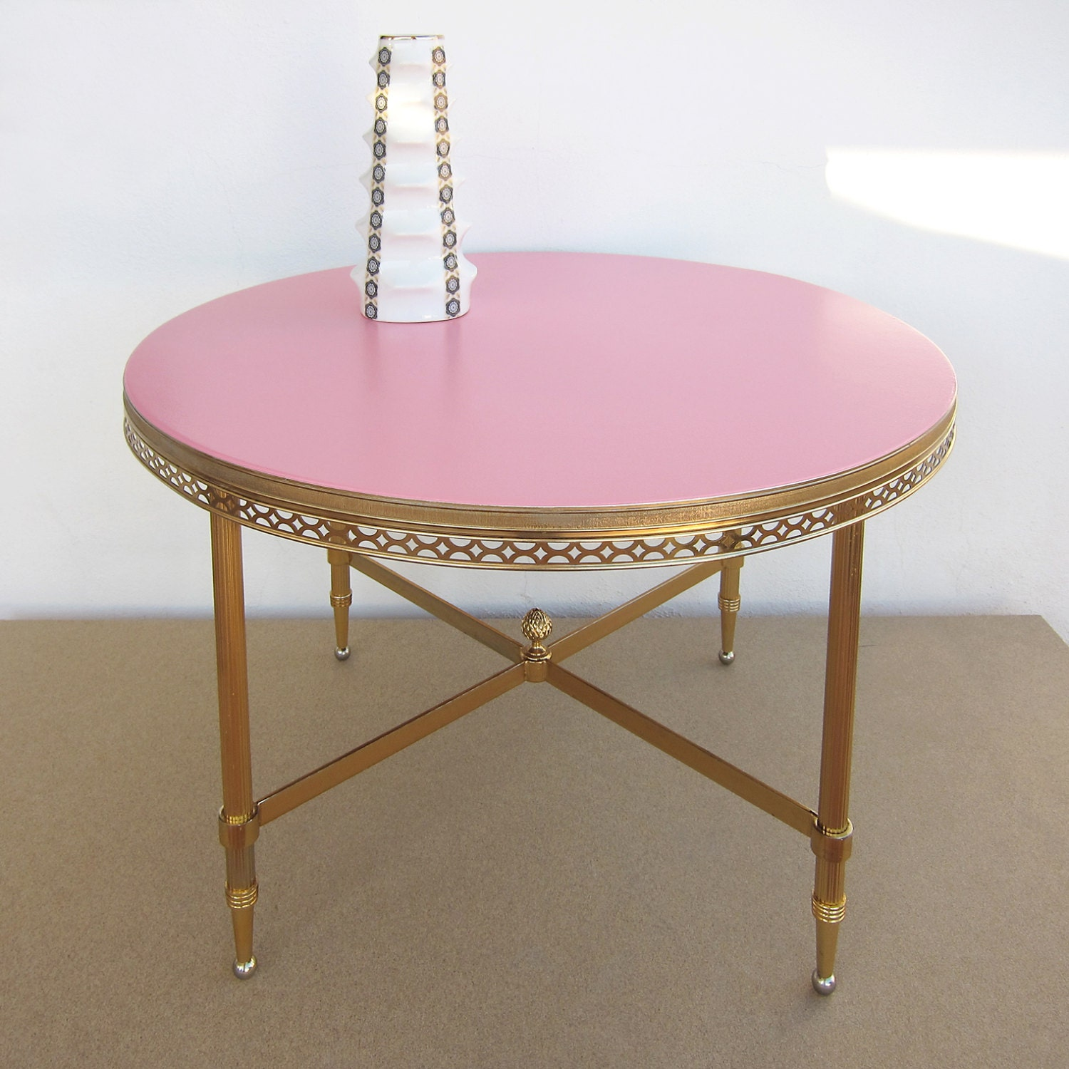 RESTORED BRASS Vintage Coffee Table Coral Pink Round 1960s