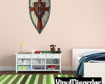 Sheild Wall Decal - Wall Fabric - Vinyl Decal - Removable and Reusable - ShieldUScolor009ET