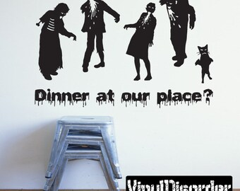 Dinner At Our Place Zombie Family Vinyl Wall Decal Or Car Sticker - Mv004ET