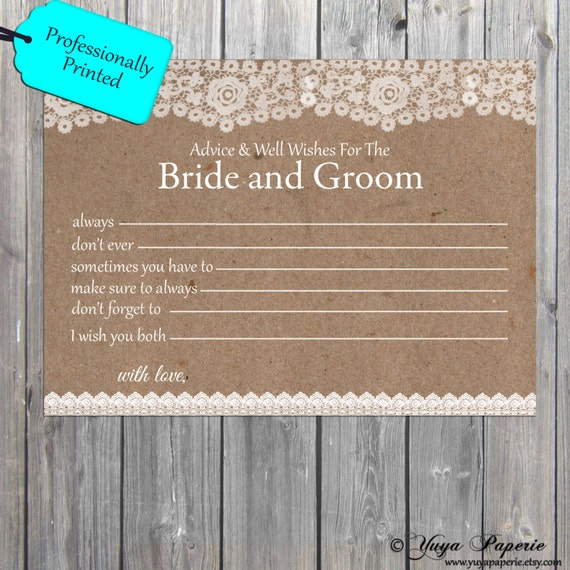 Lace Rustic Advice Cards Wedding Well Wishes Couples Wishes