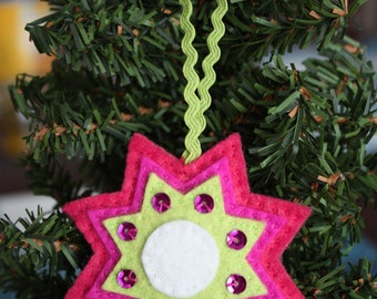 Vintage Inspired 8-point Star Felt Christmas Handmade Ornament