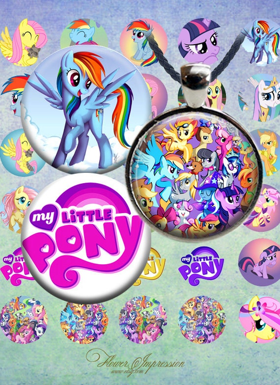My little pony - 1 inch round images PrintableDownload Digital Collage Sheet 1 inch circle steampunk diy jewelry pendant bottle cap sticker steampunk buy now online