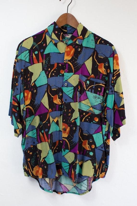 vintage 80 s multi color sleeve dress shirt