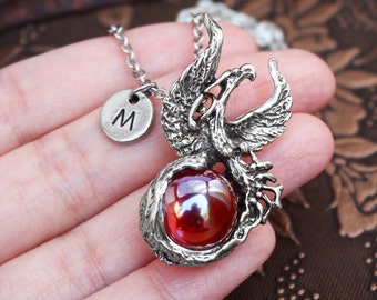 Phoenix Necklace, Initial Necklace, Red Jewelry, Bird Necklace, Monogram Necklace, Phoenix Charm Necklace, Animal Necklace, Orb Necklace