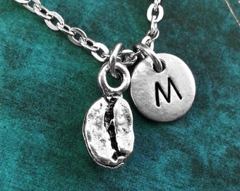 Coffee Bean Necklace VERY SMALL Personalized Necklace Coffee Bean Pendant Custom Necklace Coffee Gift Monogram Necklace Silver Coffee Charm
